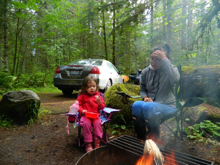 Catarina and Veronica warming up next to the fire at Big Creek Campground.