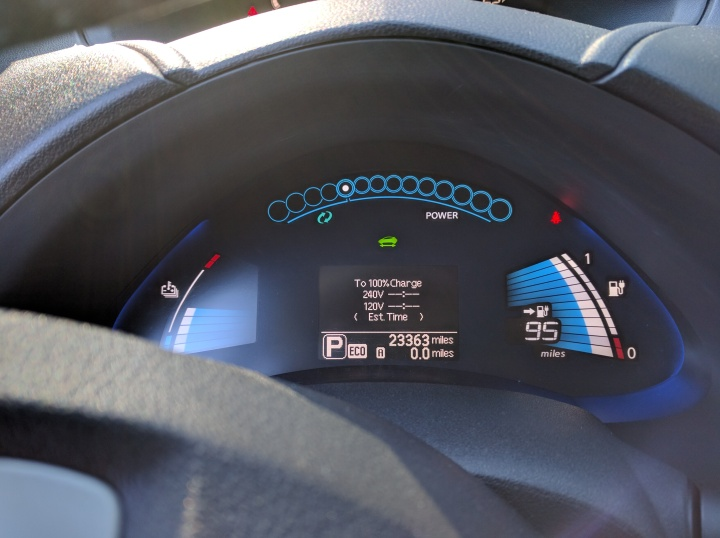 The car charges up to 95 miles at its peak, though I've gotten more than 100 miles out of a charge.