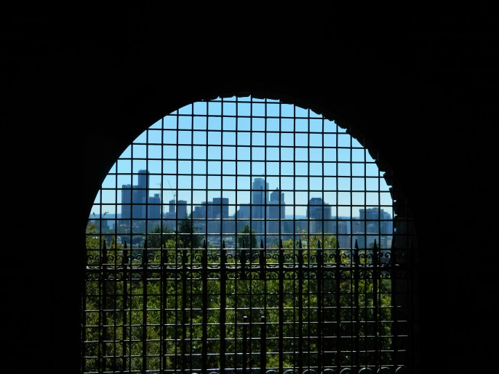 The Seattle skyline framed in a view from the top of the Volunteer Park water tower.
