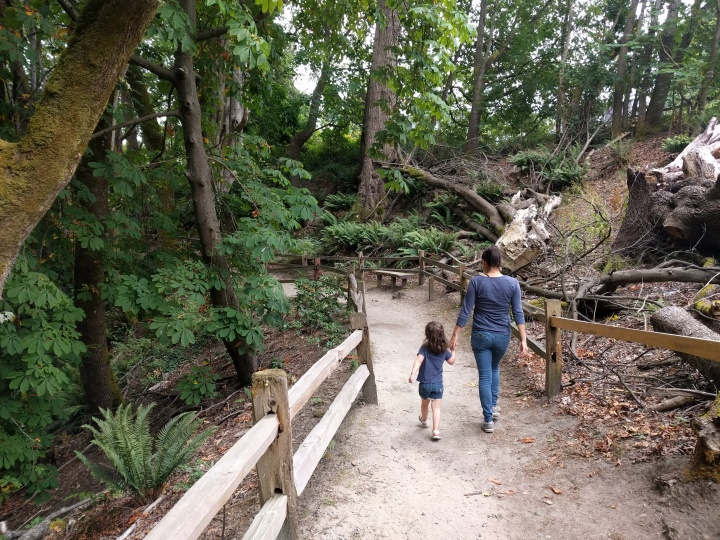 Catarina and Veronica enter the Puget Creek Natural Reserve in North Tacoma.