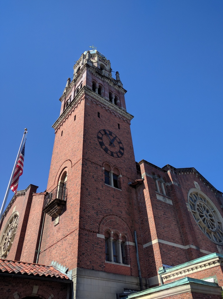 Tacoma's First Presbyterian Church rises high above city streets.