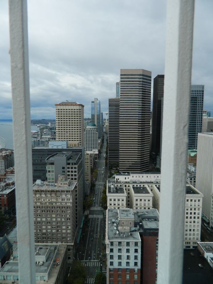 The Space Needle in the background highlights this urban canyon as seen from the Smith Tower.
